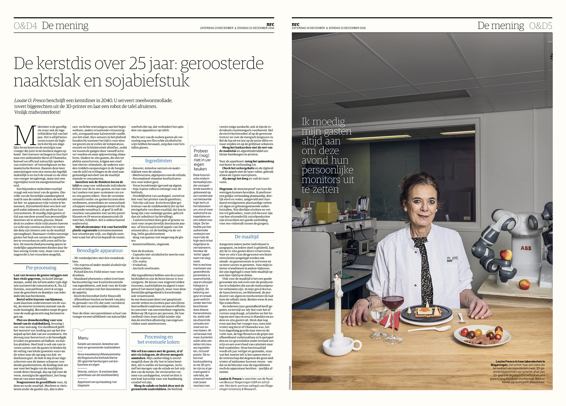 NRC Handelsblad - Louise O. Fresco - 2016 - David Galjaard