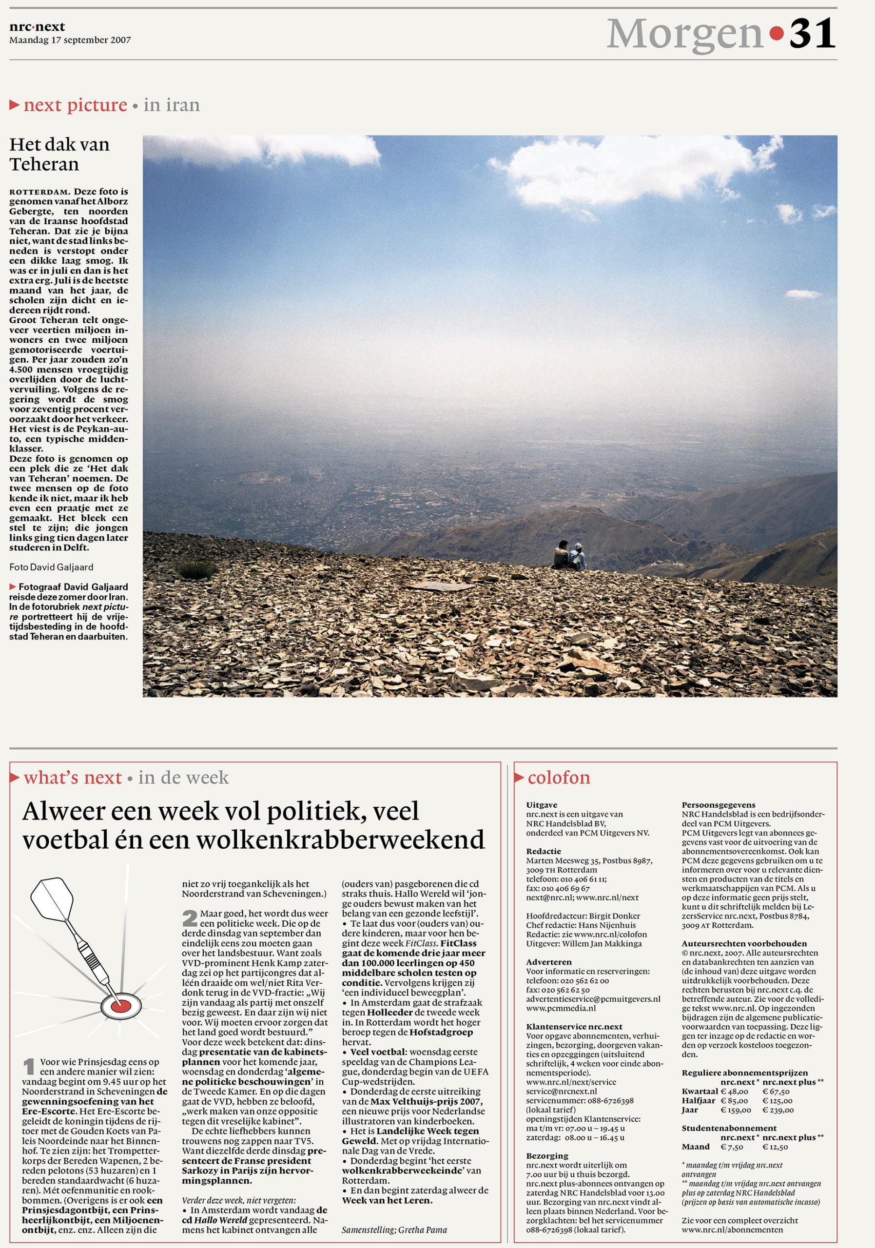 NRC Next - Vrije tijd in Iran - David Galjaard