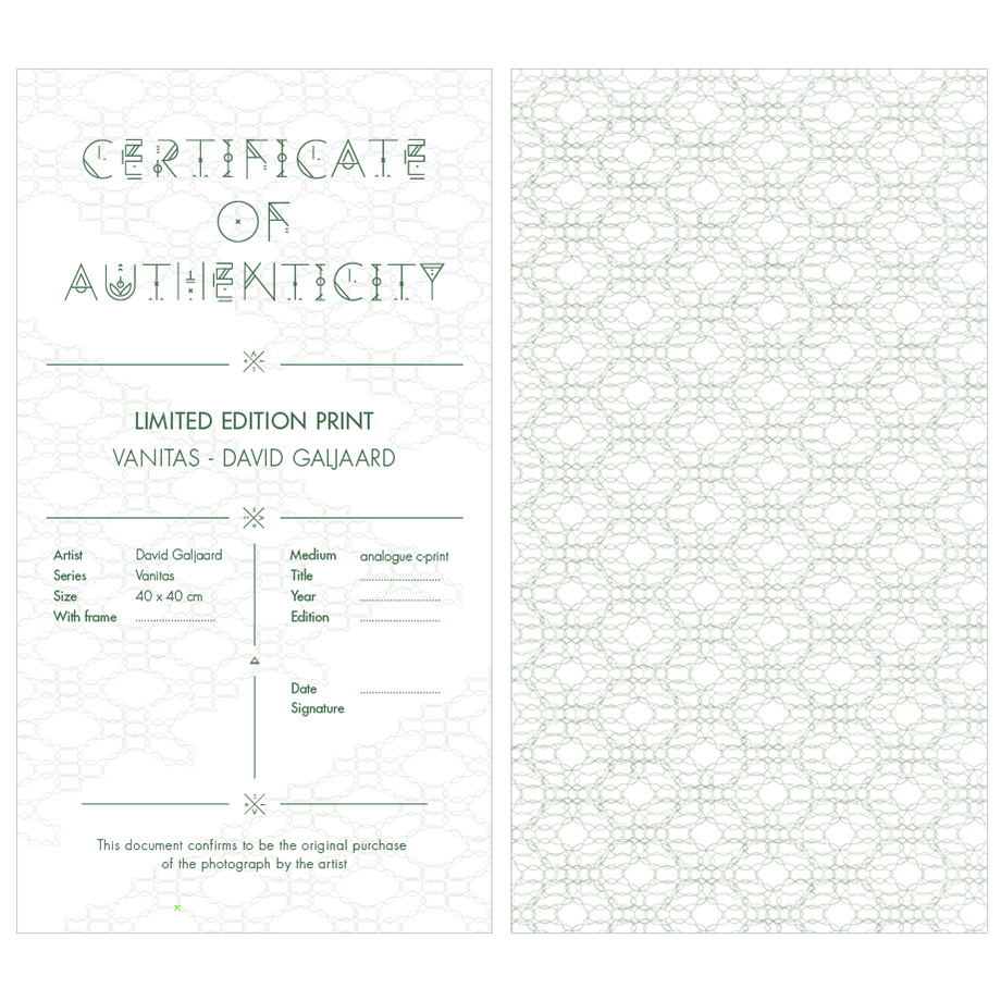 Certificate of Authenticity Vanitas photo by David Galjaard