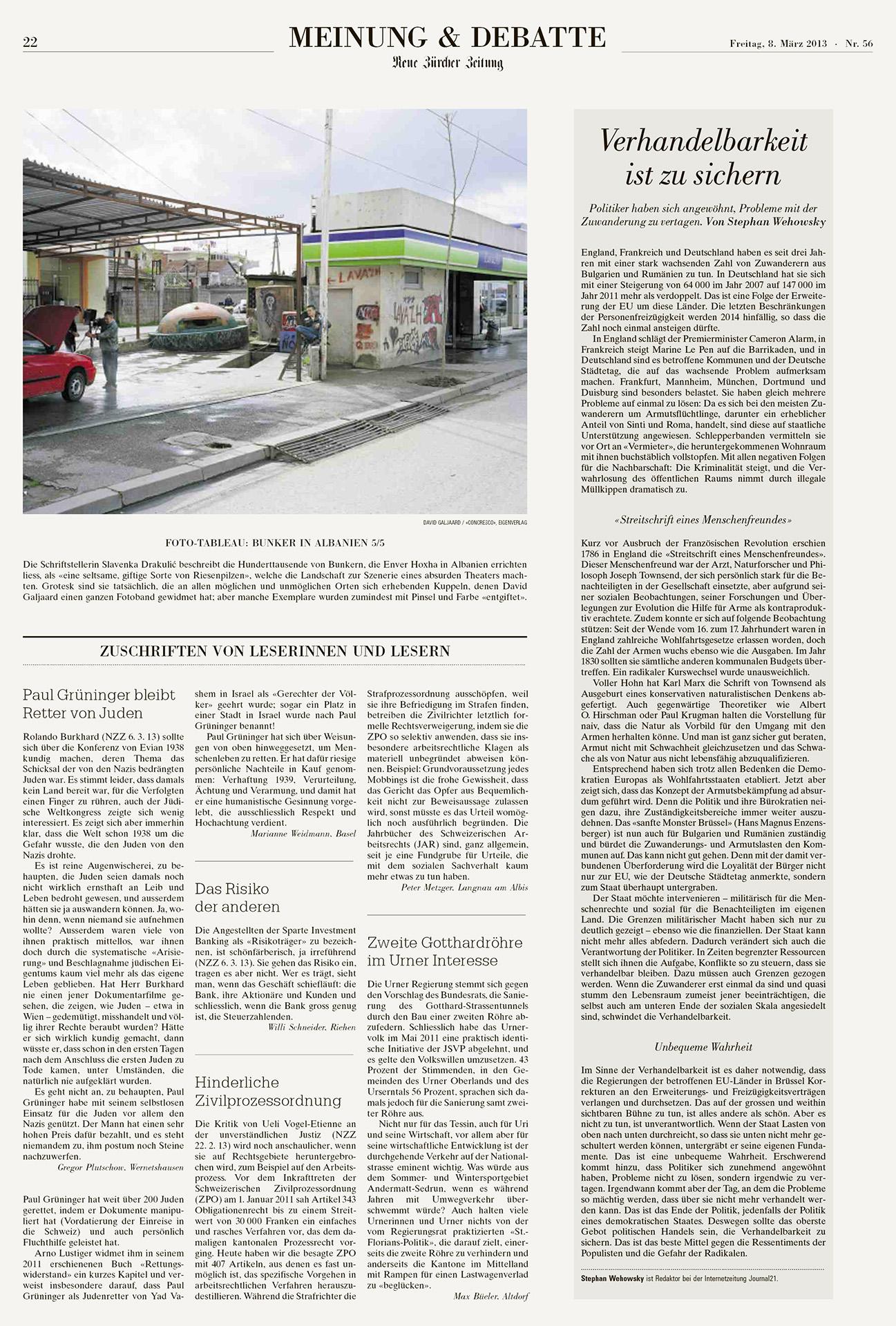 Neue Zurcher Zeitung - Meinung & Debate - Concresco - David Galj